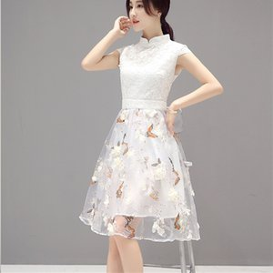 Wholesale 2018 White Summer Dress Women Dress Novelty High Waist Butterfly and Floral Print Knee Length Slim Chi Pao Organza XH079