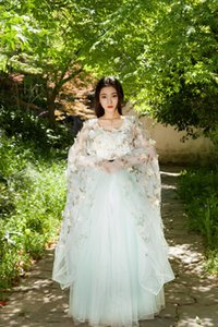 Wholesale Fairy Tale Cosplay Hanfu Chinese ancient Costumes Women Adult Princess Dresses Party Fancy dress Girls Flower Long gown