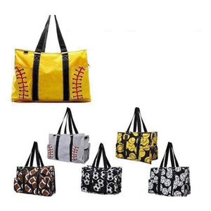 Wholesale girls designer handbags resale online - Outdoor beach bag sports canvas Handbags Softball Baseball Tote Football shouder bags Girl Volleyball Totes Storage Bags GGA1829
