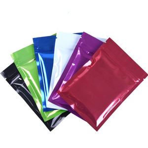 Wholesale 100pcs sizes glossy foil flat tea zip lock bag plastic package mylar bags self seal poly packing pouch