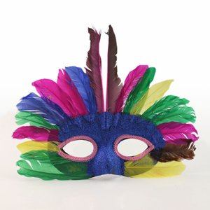 Wholesale kids children Halloween show props party mask Indian mask prom feather mask colors randomly H58