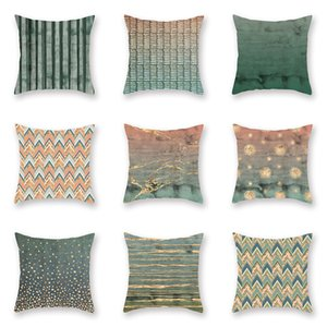 Wholesale 9 TYPE Stitching Color Pattern Bed Cushion Cover Single Double Side Printing Car Pillowcase Peach Skin Sofa Hold Pillow Case Covers 45*45cm