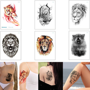 Wholesale bearing arm resale online - Black Body Art Tattoo Sticker Lion Bear Animal Head Decal Waterproof Temporary Tattoo Sticker Arm Leg Back for Male Female Beach Summer