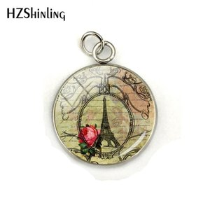 Wholesale Vintage Paris Eiffel Tower Flowers Patterns Glass Cabochon Stainless Steel Pendant Charms Hand Craft Women Jewelry Accessory
