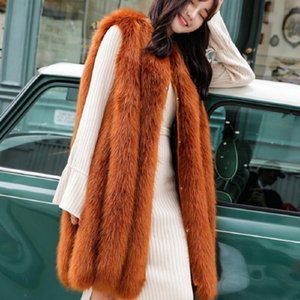 Wholesale Winter Women Luxury Faux Fur Vest Side zipper design patchwork Slim Waistcoat Fake Fur Jacket Plus Size Coat Outwear L1755