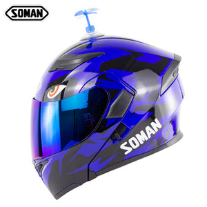Wholesale visor bike helmet resale online - Soman motorcycle helmet with accessory bamboo raft double visors motocross capacetesstree motor bike casco dot approval