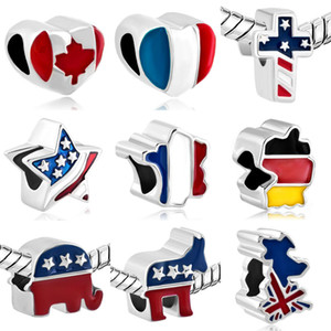 Free shipping MOQ 20pcs Silver Canada USA Germany flag beads charms Fit authentic pandora Bracelets pendant Jewelry making DIY B11