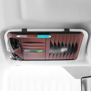 Wholesale Card Storage Universal Car Organizer Sun Visor Pouch Bag Multifunction CD Holder PU Leather Glasses Folder Pocket Practical