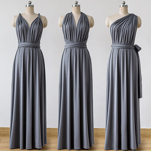 Wholesale Jersey Convertible Bridesmaid Dresses Custom Made Charcoal Grey V Neck Maxi Infinity Floor Length Sleeveless
