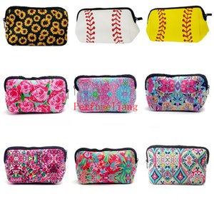 Wholesale Sunflower Flower Baseball Cosmetic Bag Large Waterproof Neoprene Zipper Travel Portable Toiletry Makeup Pencil Organizer Case