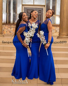 2020 South Africa royal blue Mermaid Bridesmaid Dresses Custom Made Gowns For Wedding sexy tulle v neck Nigerian Style Turquoise Dress on Sale