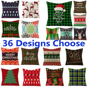 Wholesale linen pillow cover green for sale - Group buy Green Christmas Pillow Case Cover Linen Xmas Tree Reindeer Throw Cushion Cover Merry Christmas Home Car Sofa Decoration Gifts HH9