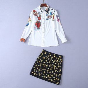 2019 New Madonna Beading Rhinestone Long Sleeve Shirt And For Womens Fashion And Embroidery Hip Skirts 2 Pieces Sets 121302