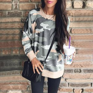 Wholesale Round Neck Long Sleeve Camouflage T Shirts Tops Print Women Hoodie Blouse New Design Autumn Winter Clothes Drop ship