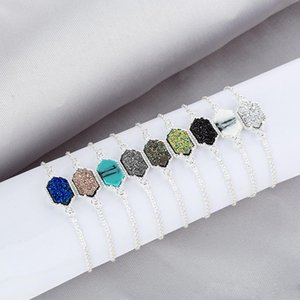 Wholesale 2019 Kendra Style Drusy Druzy Bracelet Resin Hexagonal Stone Gold Silver Adjustable Link Chain Wristband Women Jewelry Gift