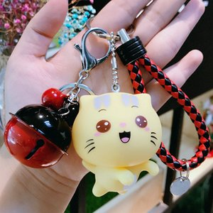 Wholesale Cute Cartoon Cat Keychains Korean Style Lovers Leather Weave Rope Key Chain Girl Lady Bag Pendant Car Keychains