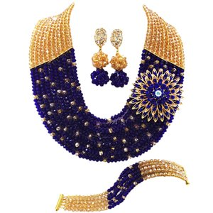 Wholesale Fashion Champagne Gold AB Royal Blue Nigerian Wedding African Jewelry Set Crystal Beads Necklace Bracelet Earrings Sets SZ17