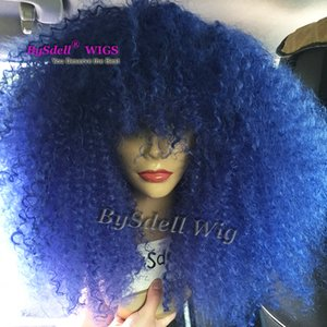 Wholesale blue hair wig synthetic afro kinky curly hair lace front wig diamond blue color Matt fiber clueless lace front wigs for black women