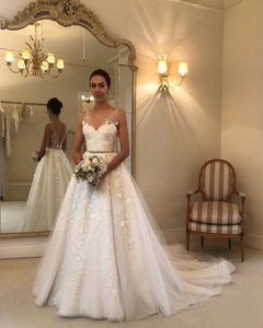 Wholesale 2020 Bohemian Summer Beach Wedding Dresses A Line V Neck Lace Appliques Tulle Sash Beaded Illusion Backless Sweep Train Formal Bridal Gowns