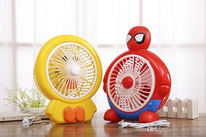 Wholesale Cartoon Little Yellow Man Pikachu Spiderman Mute Mini Fan Body Small Air Volume Large Family Office Gift Retail Box