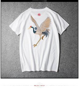 T Shirt Crane Design Men's 95% Cotton With 100% Embroidery Hand Stitched High Skill Quality SH190629 on Sale