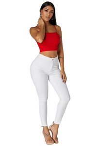 Wholesale Trousers Autumn Casual Women Slim Stretch Pants for woman White High Waist Skinny Stretch Jeans with Round Pockets
