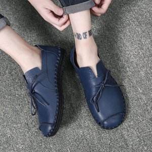 Wholesale 1British Style Casual Men Loafers Shoes Spring Autumn Genuine Leather Slip On Men's Flats Footwear Plus Size 38-50 Shoes Xz-053