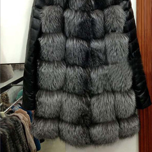 Wholesale Fashion Fashion Winter Women Imitation Fox Fur Coat PU Leather Long Sleeve Jacket Keep Warm Outwear Lady Casual Overcoat S XL G
