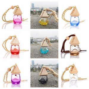 Car Perfume Bottle With Wood Cap Hanging Rearview Ornament For Essential Oils Diffuser Refillable Empty Glass BottlY1i08