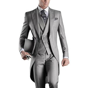 Wholesale Grey Italian Wedding Suits For Men Long Dress Tailcoat Formal Groom Tuxedo Party Prom Suit Vintage Costume Homme Mariage Piece