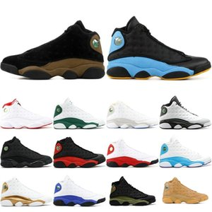 Wholesale With box High Quality s Men Women Basketball Shoes Cap And Gown Chicago Black Flints Bred retro Brown Wheat DMP j13 retro Sneakers