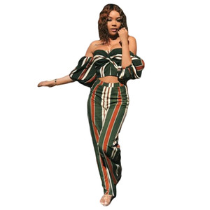 Women Two Piece Set Outfit Striped Casual Jumpsuit Crop Top + Pants Clubwear women s clothing 2 piece set on Sale