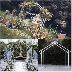 Wholesale Pentagonal Frame of Iron Art Geometry for Wedding Projects Outdoor Wedding Stage Background Decoration Special shaped Arch Bridge