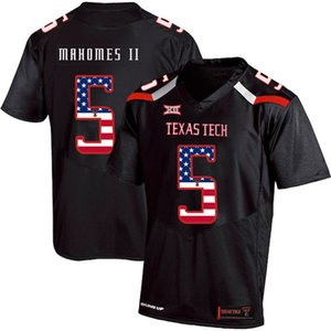 Wholesale Mens Custom Patrick Mahomes II Football Jersey Texas Tech USA Flag Fashion Print High Quality Stitched College American Football Jerseys