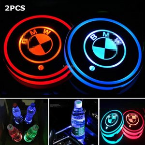 2PCS LED Car Cup Holder Pad Mat For Audi BMW Mercedes Benz Volkswagen Toyota Tesla JEEP CHEVROLET Ford car logo light Accessories on Sale