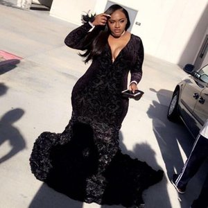 Wholesale black flower lace dresses resale online - Mermaid Plus Size Prom Dresses Black Girls Lace Plunging V Neck Long Sleeve Evening Gowns With D Flowers