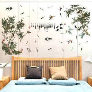 Wholesale 20190621 Bamboo Paper Ping an Modern Chinese Wall Painting Background Decoration Sticker for Living Room Xuanguan Studio Office