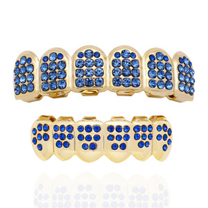 Wholesale Hip Hop Iced Out Grillz Top Bottom Teeth Grillz Colorful Punk Grills Dental Gold Tooth Caps Rapper Jewelry Party Gift