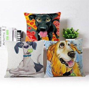 Wholesale Page One Cute Bread Dog Color Printing Cotton Linen Pillow Case Cushion Covers Household Decorative Gifts Single sided Printing
