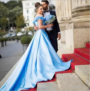Wholesale Arabic Middle East Women A-line Blue Wedding Dresses Ruched Flowers Long Court Train Bridal Gown New Arrival Bridal Gowns