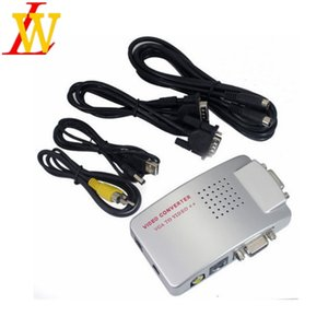 Wholesale Universal NTSC PAL VGA to TV AV RCA VIDEO Signal Adapter Converter VGA to Video Switch Box Composite for Computer Laptop PC