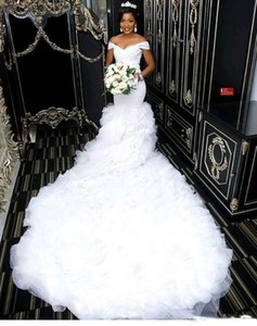 Off the Shoulder Beautiful Mermaid Wedding Dresses 2019 African Lace Bodice Long Train Bridal Gowns Custom Made on Sale