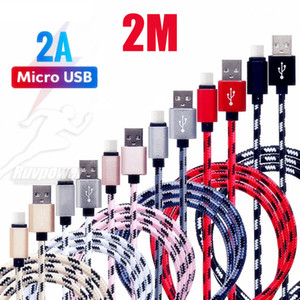 Wholesale 2M FT cm nylon USB Charging Cord Head Metal Cell Phone Chargering Cable For Samsung Note Plus Android Type C