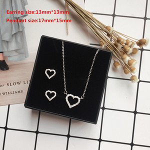 Wholesale 925 Sterling Silver Women Jewelry Simple Heart Shape Sets and Small Shiny Zircon Earring Necklace for Women Fashion Jewelry