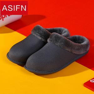 Wholesale ASIFN Cotton Slippers for Men Indoor Winter Waterproof Non slip Warm Bathroom Home Half pack Female Slippers Male Lovers Shoes
