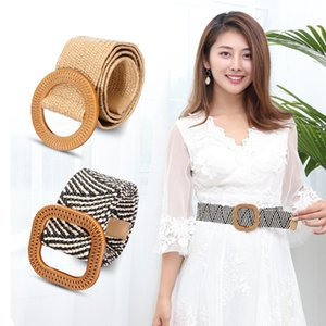 KLV Wooden Button Belt For Women Elastic Straw Belt for Dress Casual Female Dresses Long Shirt Skirts Slim Waist Decor