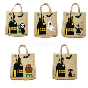 Wholesale 5styles Halloween handbag Kids Gifts Candy Bags ghost cat witch Printed cartoon Masquerade Party Handbags Storage bag FFA2945