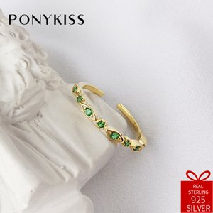 Wholesale PONYKISS Trendy S925 Sterling Silver Chic Green Zircon Crown Adjustable Opening Chain Weaving Ring Women Party Fine Jewelry Gift