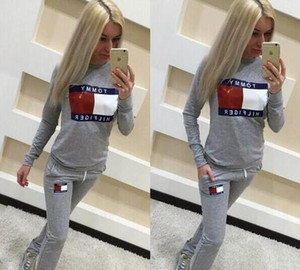 Wholesale New Fashion Women Pink white Tracksuits Casual Hoodies Pants Two piece Jogger Set Ladies Fall Tracksuit Sweat Suits Black Gray Outfits Costu