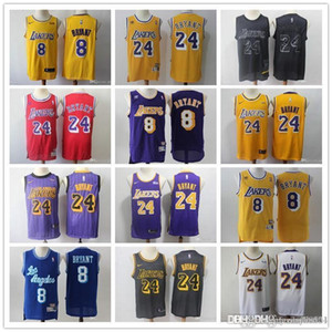 Wholesale Mens Los Angeles Lakers Throwback NBA Kobe Bryant Kobe Bryant White black red yellow purple Blue Basketball Jerseys